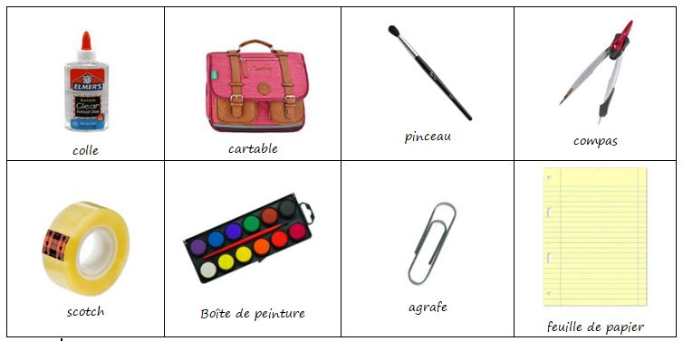 Los útiles Escolares En Frances Vocabulario Les Fournitures